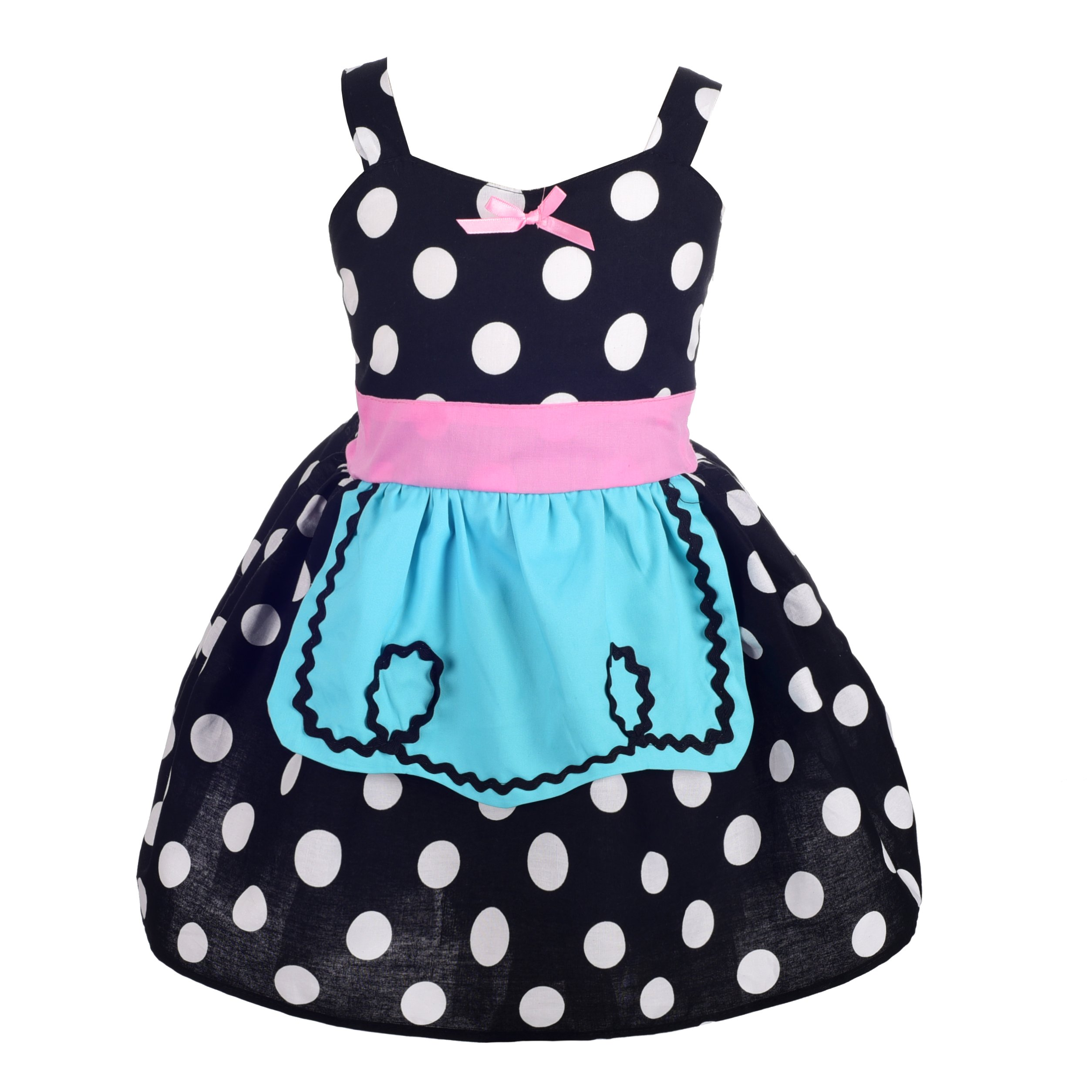 Dressy Daisy Polka Dot Dress with Apron Summer Dresses for Toddler Size 4T