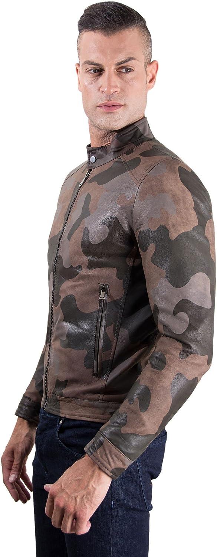 Military Nappa Lamb Leather Biker Jacket Korean Collar