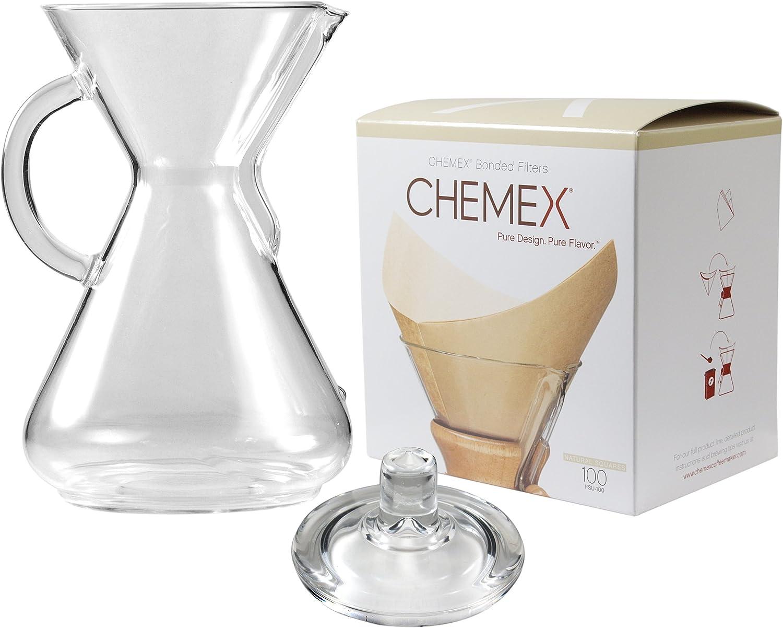 Chemex Cafetera de cristal 50 oz con tapa y 100 Count Bonded ...