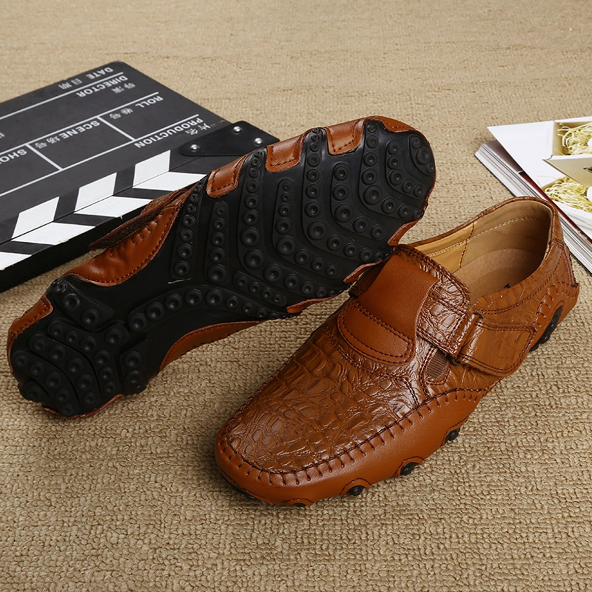 GUDEER Mens Leather Loafers Casual Driving Shoes