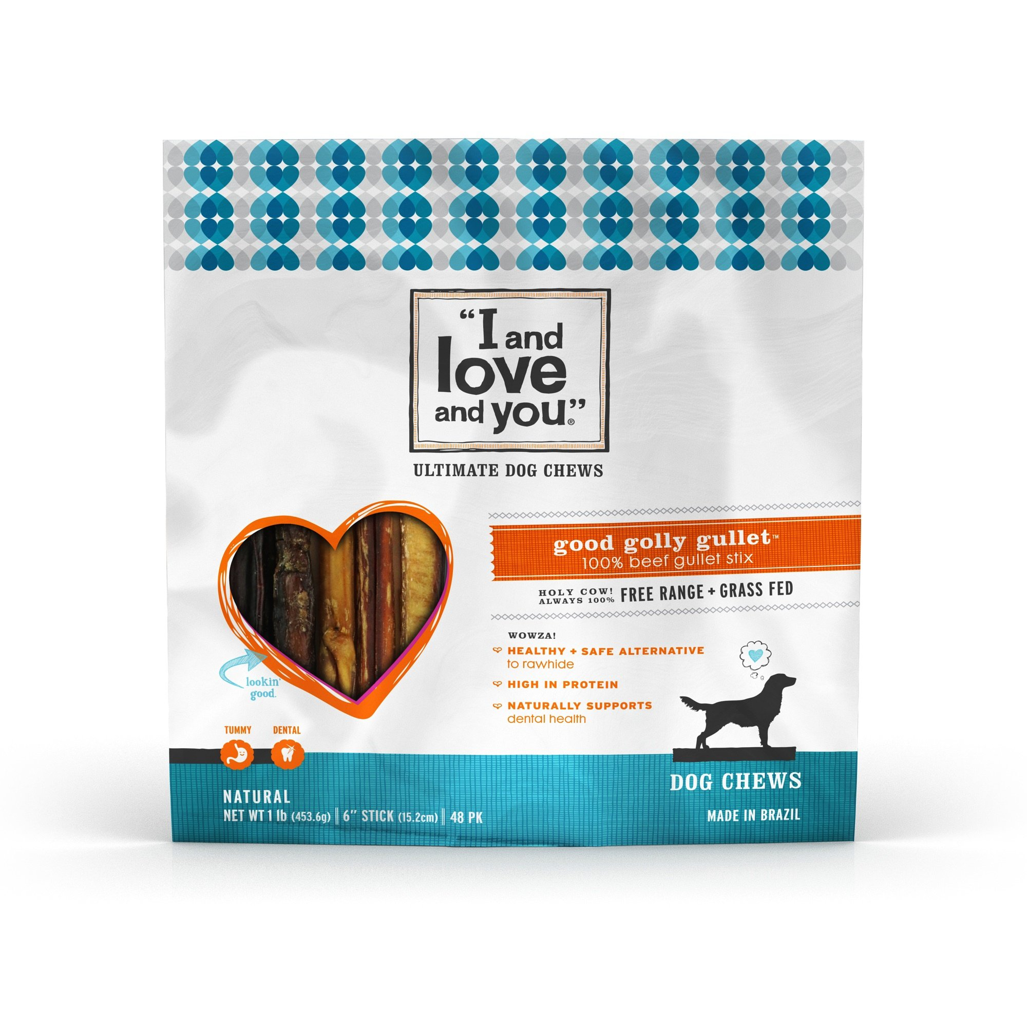 I and love and you'' Good Golly Beef Gullet Stix, 1 LB, 6 Inch Sticks