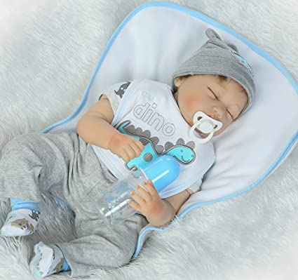 NPK Sleeping Reborn Baby Dolls baby boy 22 Inches Soft Silicone Vinyl Realistic Real Looking My dino Handmade Weighted Toddler Gifts gray Outfit Gift ...