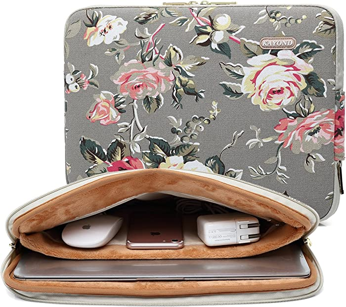 KAYOND Gery Rose Patten canvas Water-resistant 15.6 Inch Laptop Sleeve case for 15inch 15.4inch 15.6inch Notebook Computer