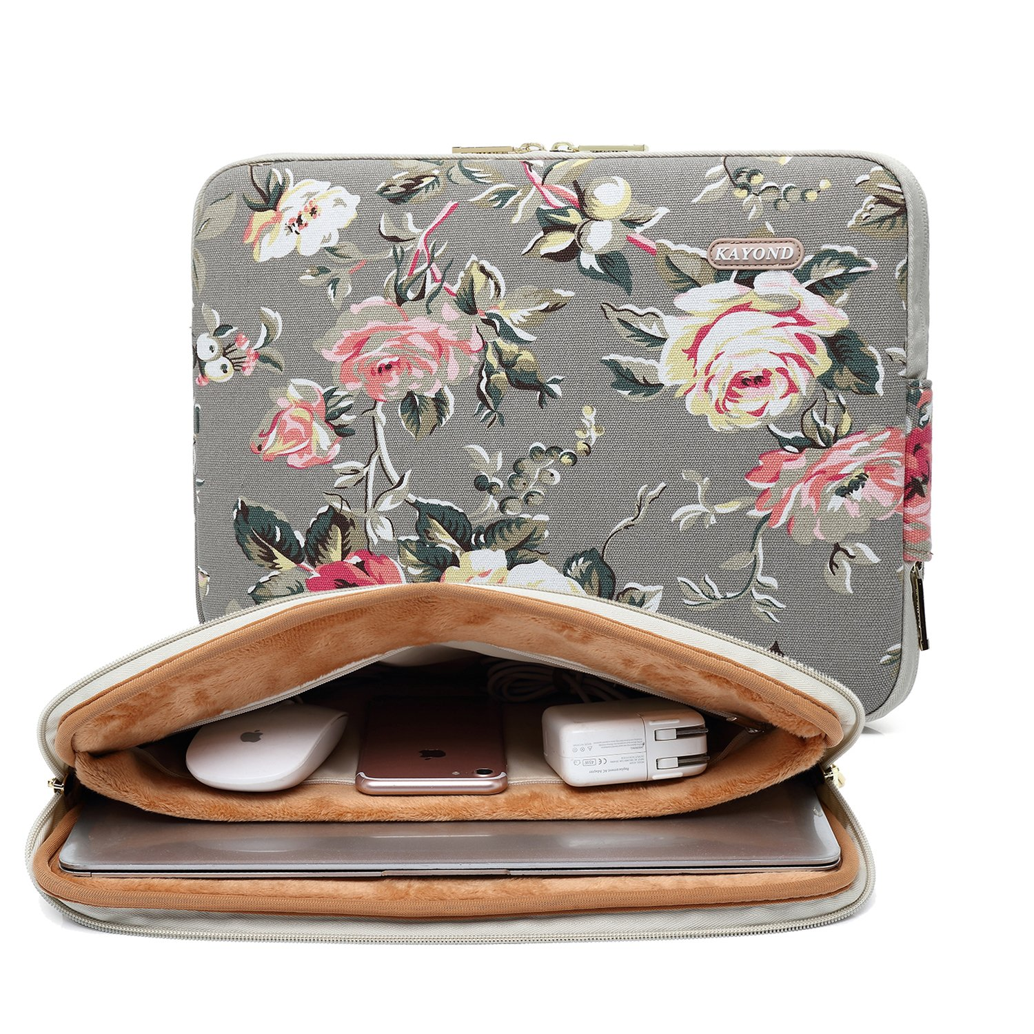 kayond Gery Rose Patten canvas Water-resistant 11.6 Inch Laptop Sleeve