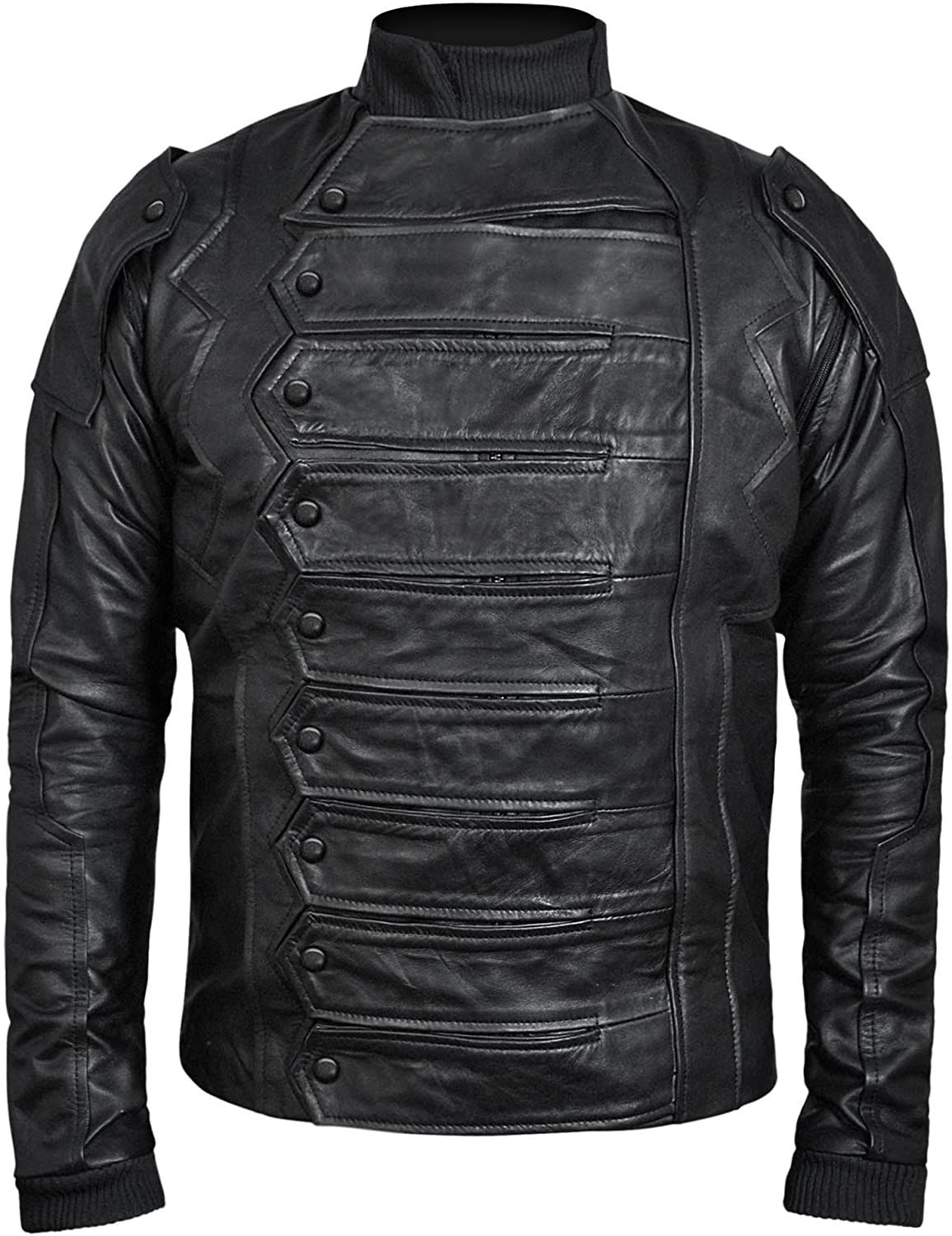 Bucky Barnes: Winter Soldier Detachable Sleeves Black Real Leather Jacket - DeluxeAdultCostumes.com