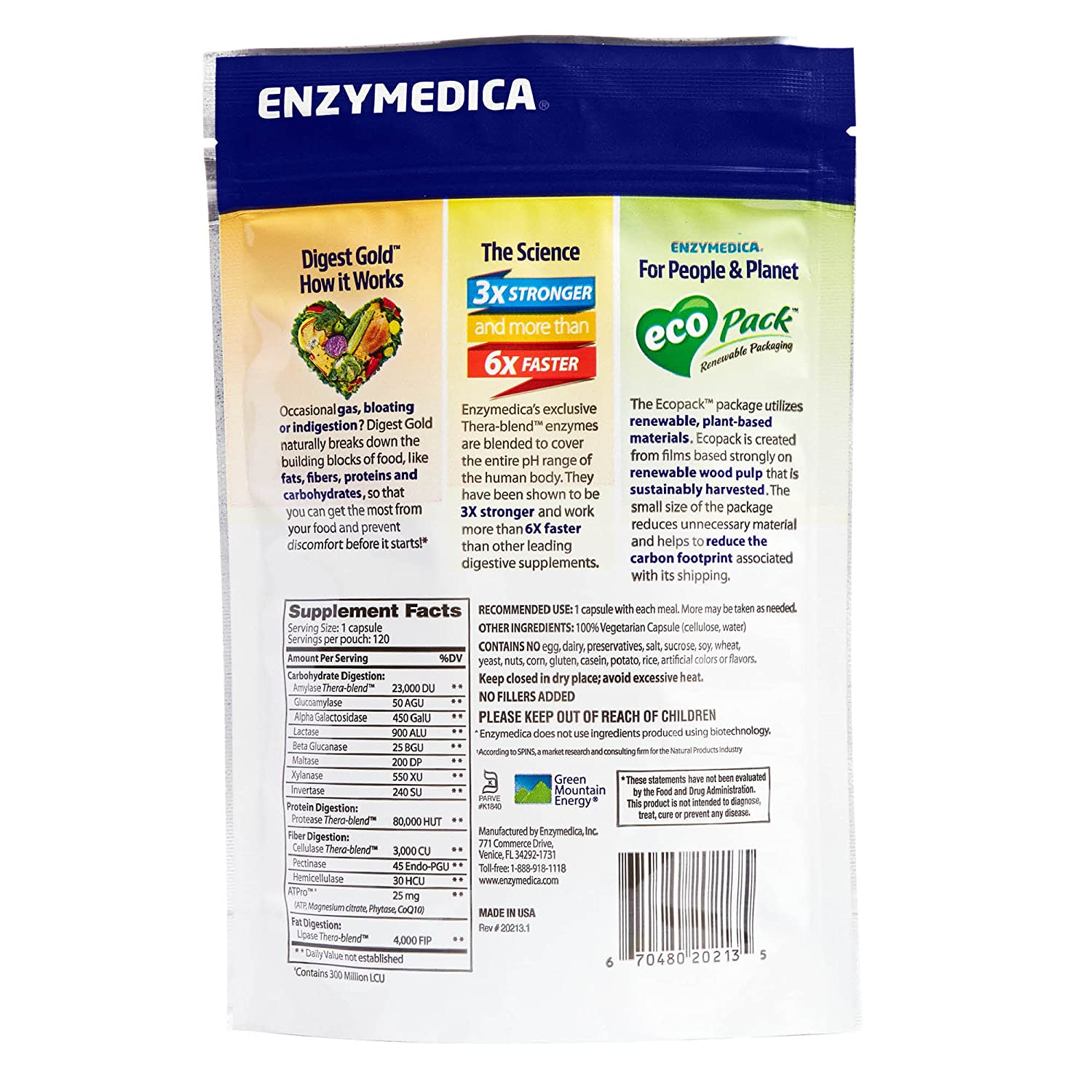 Enzymedica - Digest Gold with ATPro, Daily Digestive Support Supplement  with Enzymes and ATP,
