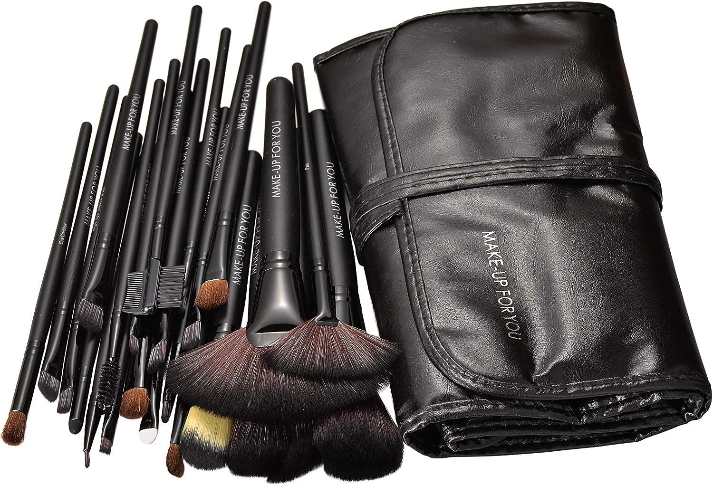 Afunti Brochas de Maquillaje,24pcs Profesional Pinceles Maquillaje de Ojos Rubor Contorno de los Labios Corrector Brochas Cosméticas + Bolso Negro