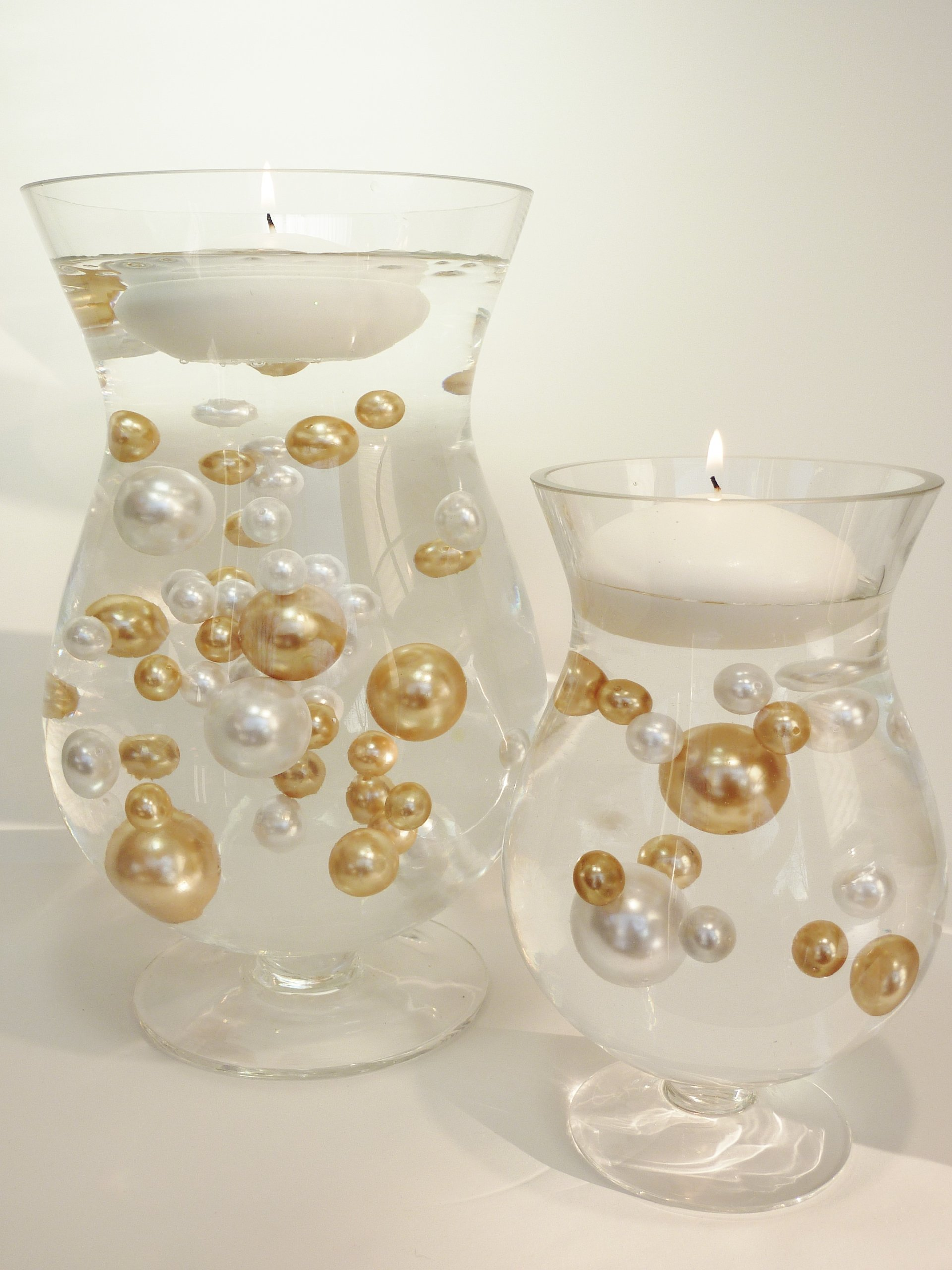 Unique Jumbo & Assorted Sizes 80 Pieces Gold and White Pearls Value Pack Vase Fillers. NOT INCLUDING THE TRANSPARENT WATER GELS FOR FLOATING THE PEARLS (SOLD SEPARATELY).