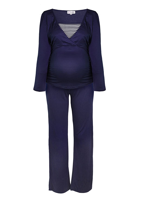 Striped Nursing Pyjama Sleep Maternity Pyjamas Nightwear Lightweight Women's Long Sleeve Summer Heart In Maritime Design In White, Blue, Grey, Mother (2100)