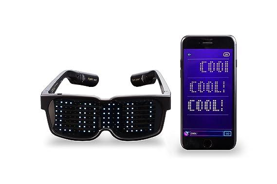 Gafas con texto LED configurable con Bluetooth –  Gafas para mostrar letras, texto, mensajes.