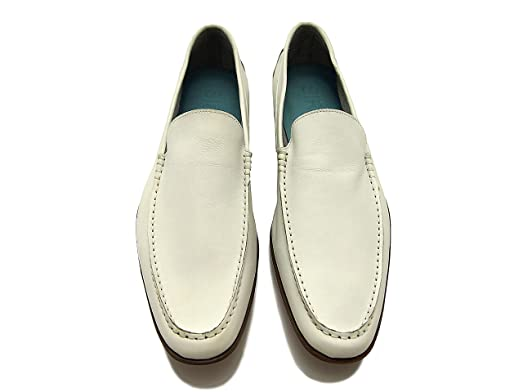 Sir Men's Leather Dress Shoes - Sebastian Men's White Slip-On Leather Loafers