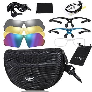 LIHAO Gafas de Sol Polarizadas Unisex con 3 Lentes Intercambiables