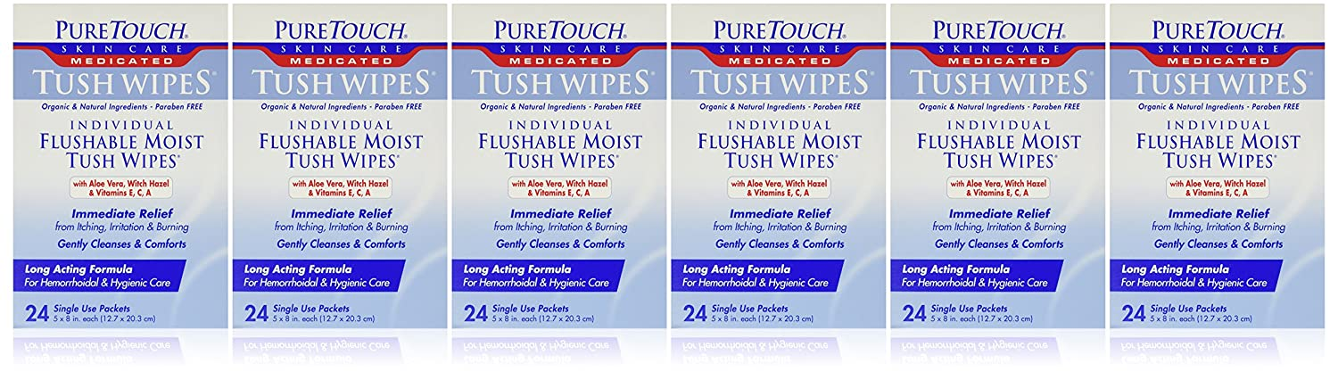 PureTouch MEDICATED Tush Wipes for adults 24 Individual Flushable Moist Wipes/ 6 boxes144 Single-Use-Packets