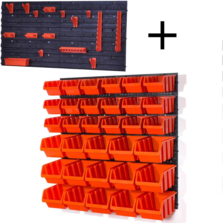 Set of 18 black.orange M and 15 black.orange L size IN-Box storage bins louvre Prosperplast