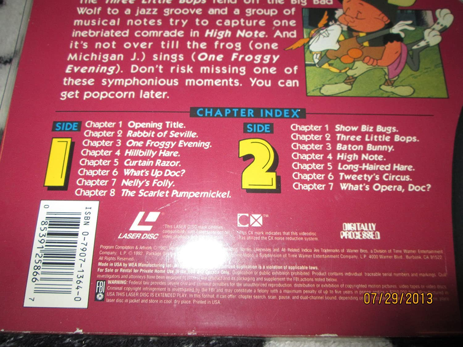 Amazon Looney Tunes Curtain Calls 12 Laserdisc This Is NOT A DVD Movies TV
