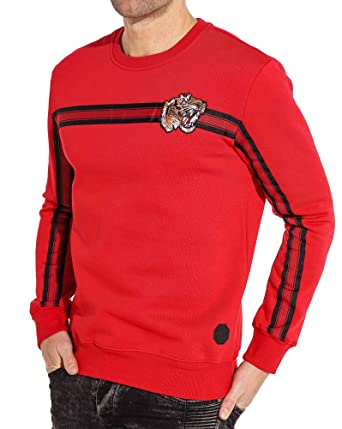 09efe5da2b0 PROJECT X - Sweat Homme Rouge Broderie Tiger Bandes - Couleur  Rouge -  Taille