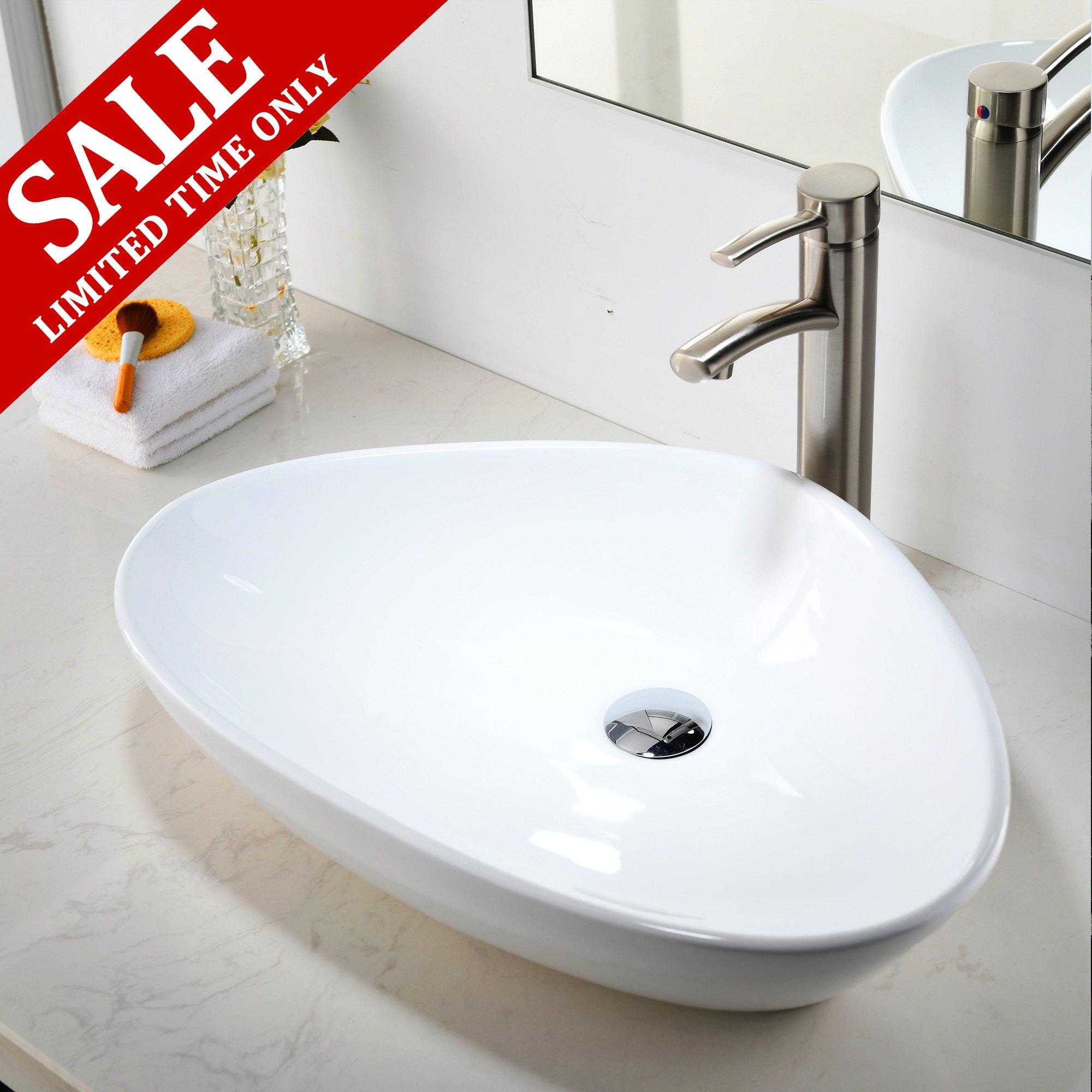 Comllen Contemporary Ceramic Bathroom Vessel Sink, Art Basin 23.2'' x 15.7'' Porcelain Bathroon SInk