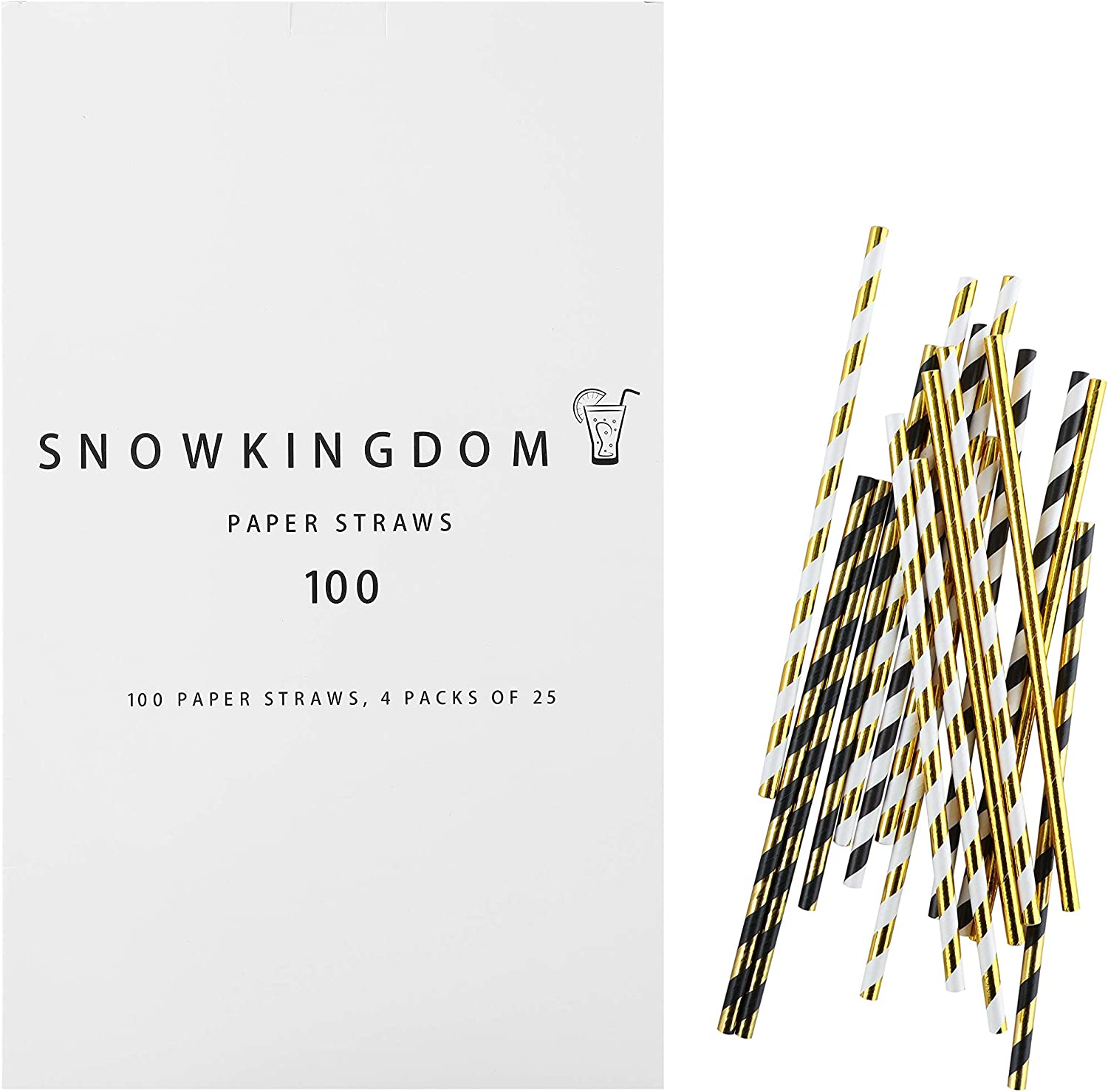 Snowkingdom Assorted Golden Paper Straws Metallic Foil Black White Stripe For Drinking And Party Supplies Cake Pop Sticks Decorations Biodegradable 100 Pcs 4 Individual Packs Of 25 Units With Box