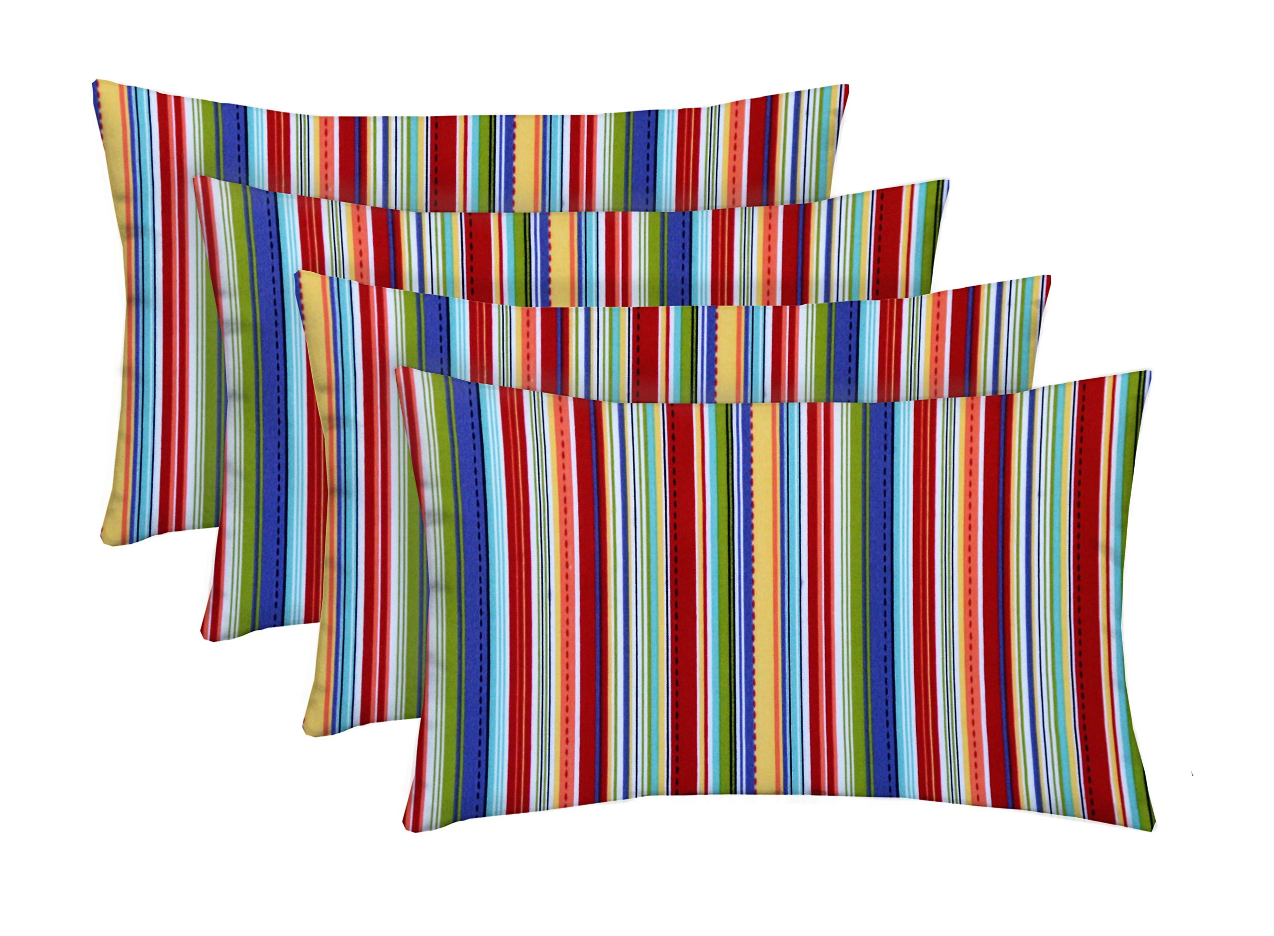 RSH Décor Indoor Outdoor Set of Lumbar Rectangle Pillows Made from Southport Stripe Fabric - Choose Quantity (4, 20'' x 12'')