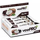 Protein-Riegel von PROFUEL® | Hochwertig und vegan aus Erbsen-Protein | Eiweiß-Riegel mit Ballaststoffe und Stevia| Ohne Gluten, Laktosefrei | 12 x 74g veePRO Protein-Bar CHOCOLATE-COCOS