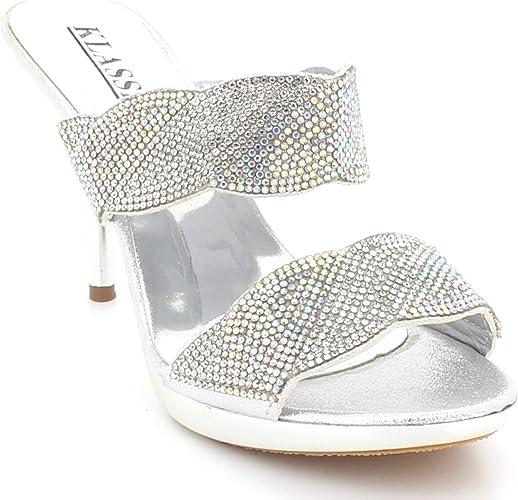 Femmes Dames Diamante Soir Mariage F/ête Bal de De mari/ée Peep Toe Talon Haut des Sandales Chaussures Taille