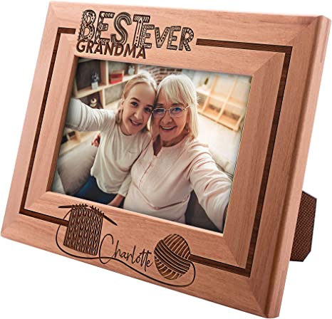 Grandma Gift Personalized Picture Frame Gift for Grammy Grandma Gramma Custom Photo Frame from Grandchild Rustic Distressed Frame