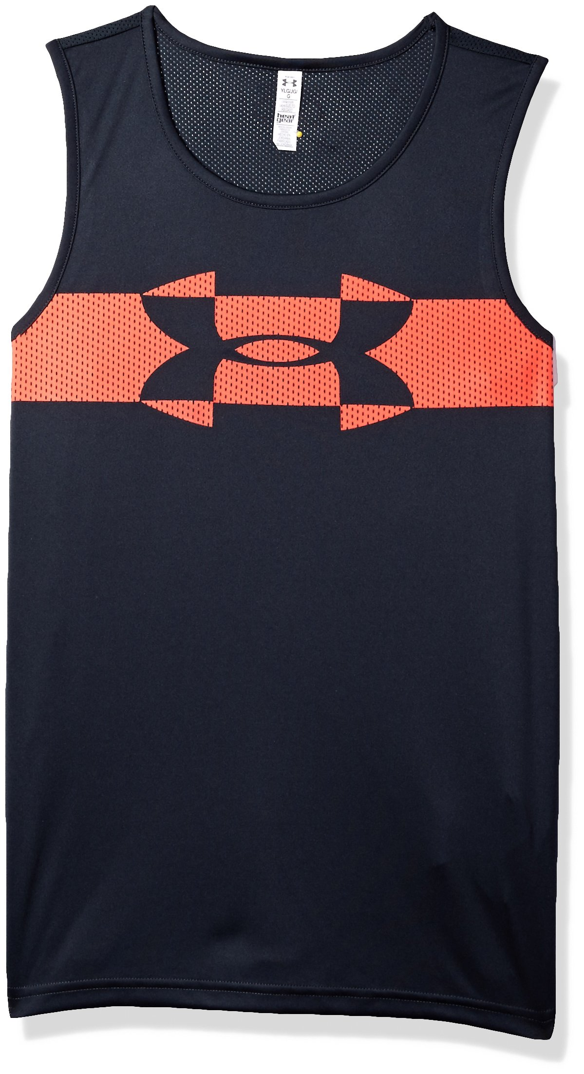 Under Armour Boys' Tech Tank, Stealth Gray (008)/Neon Coral, Youth X-Small