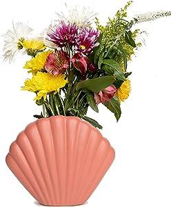 Flower Vase by Eshna Design, Boho Room Decor Vases for Flowers, Eye Catching Shell Ceramic Vase for Modern Home Decor , Flower Vases for Centerpieces Farmhouse Decorations, Hand Painted