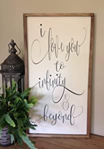 Flowershave357 I Love You to Infinity and Beyond Sign Master Bedroom Wall Decor Inspirational Sign Farmhouse Style Sign Framed Sign Wood Sign Saying
