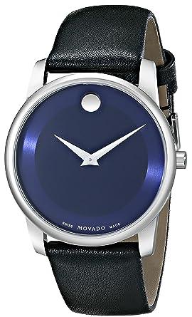 movado men s 40mm black leather band steel case quartz blue dial movado men s 40mm black leather band steel case quartz blue dial watch 0606610