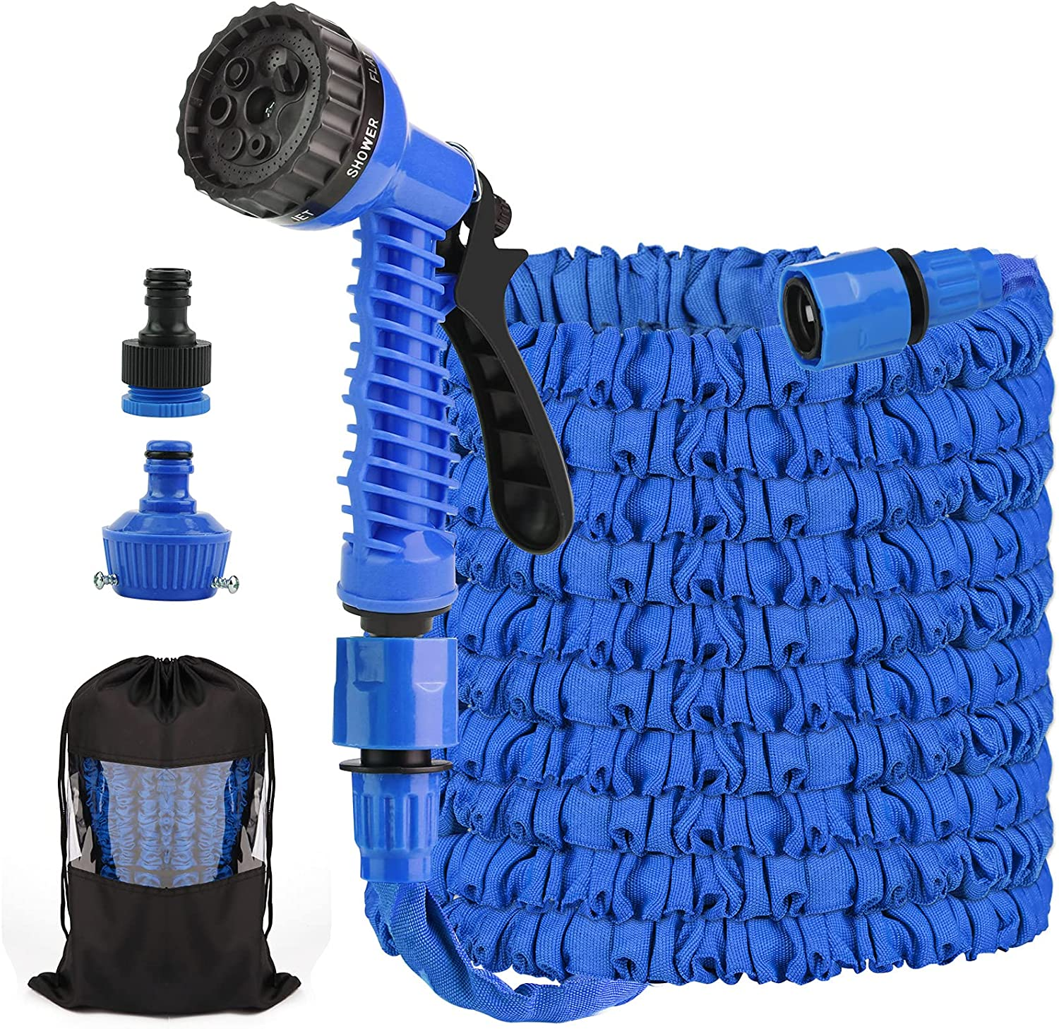 125ft Expandable Garden Hoses Flexible Water Hose with 7 Function Spray Gun Nozzles, Lightweight Retractable Hose Pipe for Outdoor Lawn Pet Shower Plant Car (Blue)