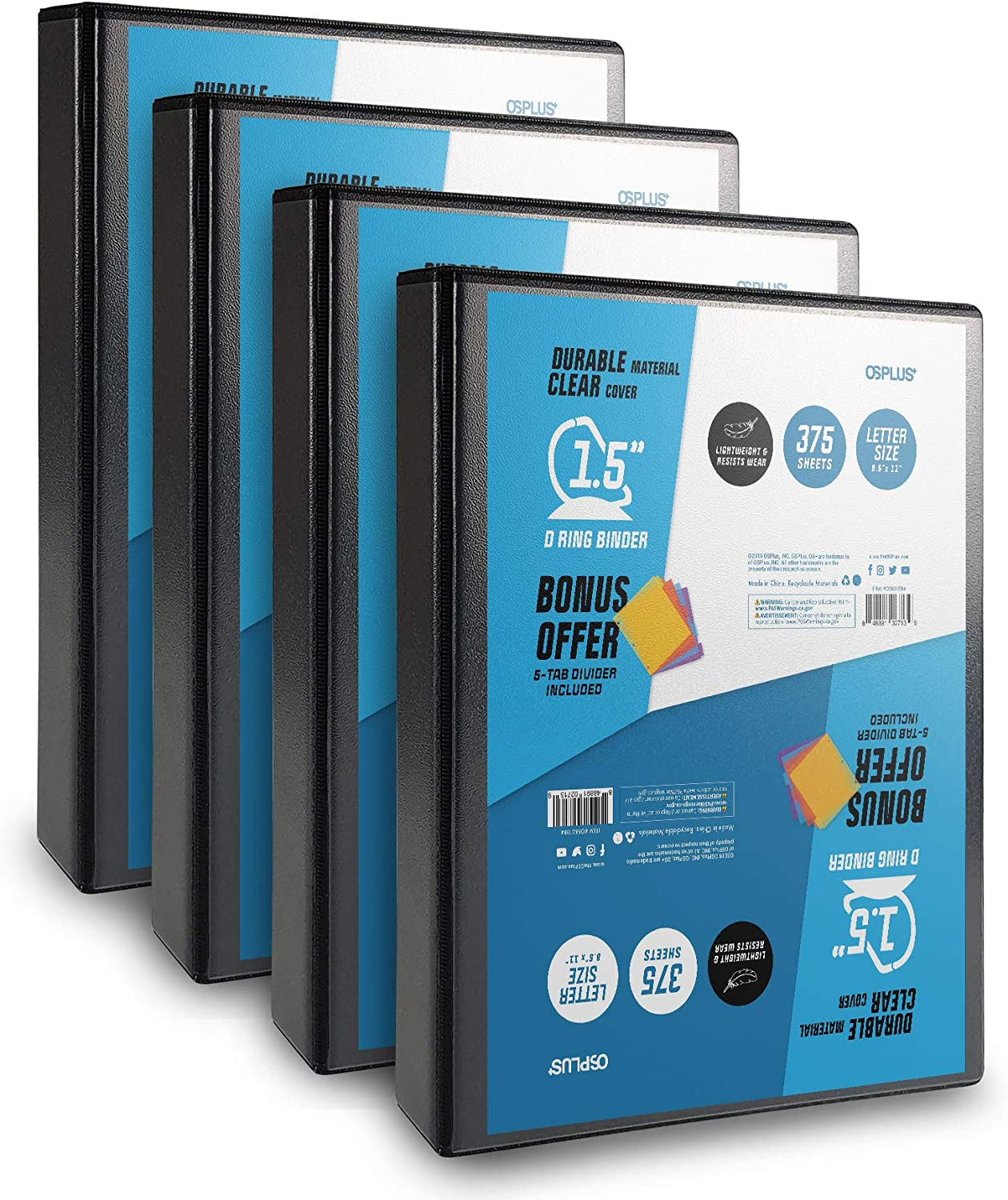 OS Plus Durable D-Ring Binder, 1.5 Inch - Black, 4 Pack. Bonus 1 Set Divider Included : Office Products