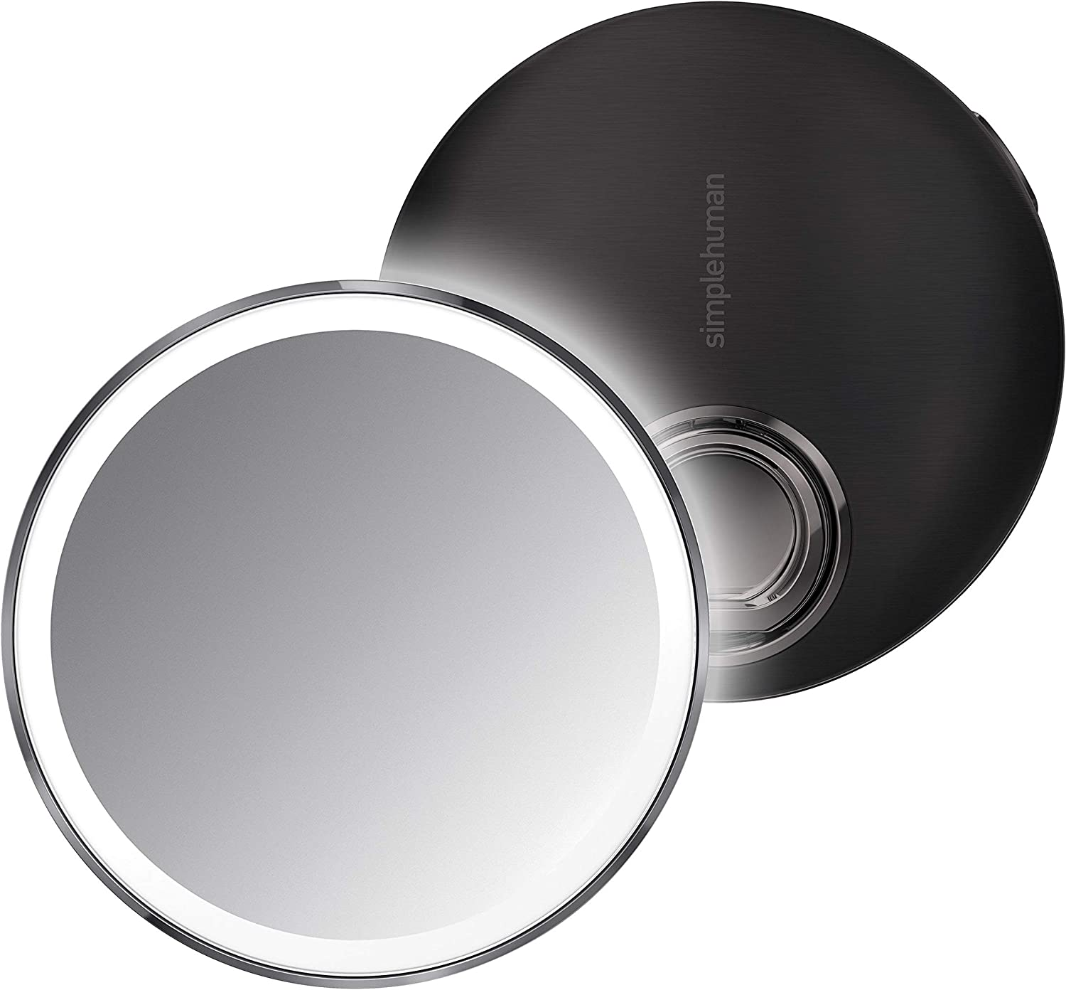 """simplehuman Sensor Mirror Compact 4"""" Round, 3X Magnification,Black Stainless Steel"""