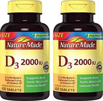 2-Pack Nature Made 400 Count Vitamin D3 2000 IU (50 mcg) Tablets