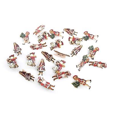 24 pequeñas pinzas de madera vintage Nostalgie Rojo Verde Niños en alt Calendario de Adviento Manualidades grapas 1 hasta 24 para calendario de Navidad Número grapas Madera Números: Hogar