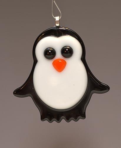 Amazon Com Holiday Christmas Ornament Fused Glass Penguin Tree