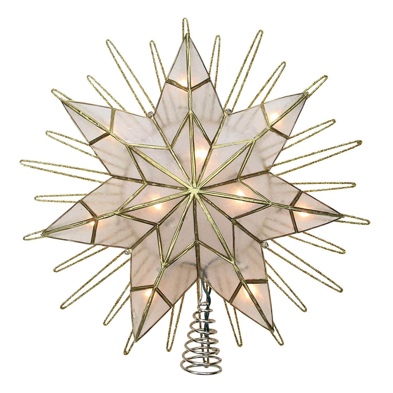 14 Lighted Capiz Sunburst 7-Point Star Christmas Tree Topper - Clear Lights KSA