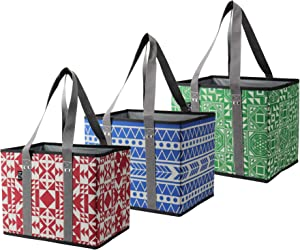 BILLION YOUNG Reusable Grocery Shopping Bags – Collapsible, WASHABLE, Durable Tote Bags with Reinforced Bottom, for Grocery, Trunk and Home Storage - Set of 3 (Red/Blue/Green)