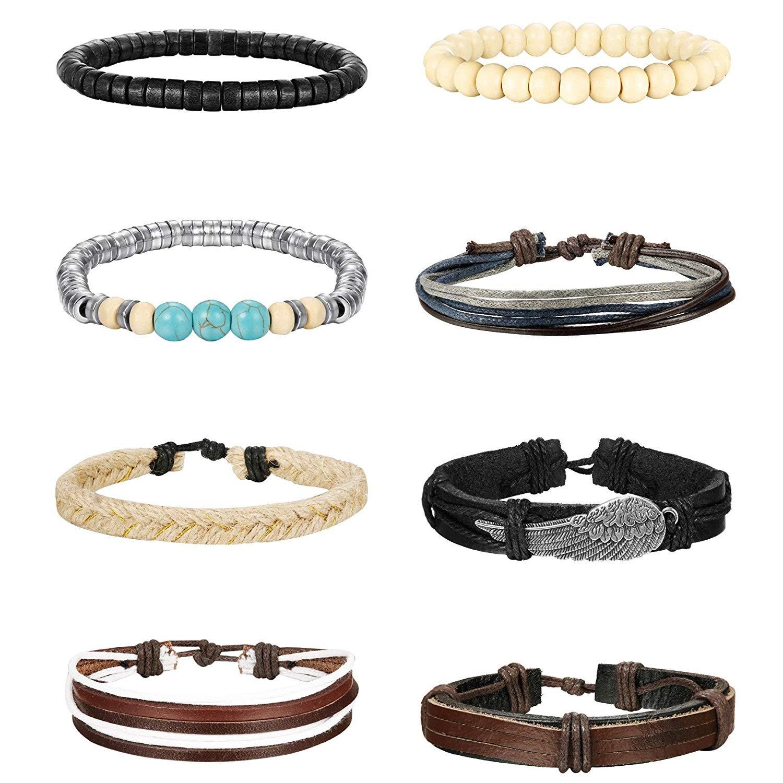 Thunaraz 12-16 Pcs Braided Leather Bracelets for Men Women Cuff Bracelet,Adjustable … TCA-M-B0012