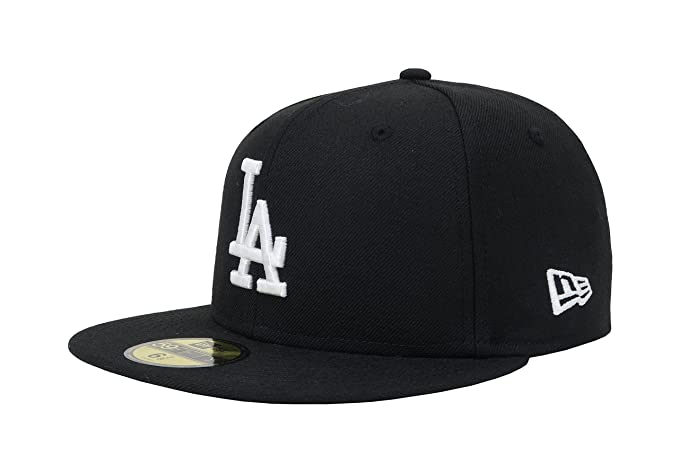 New Era 59Fifty Hat Los Angeles Dodgers Black Baseball Fitted Cap at ... 453503240bf7