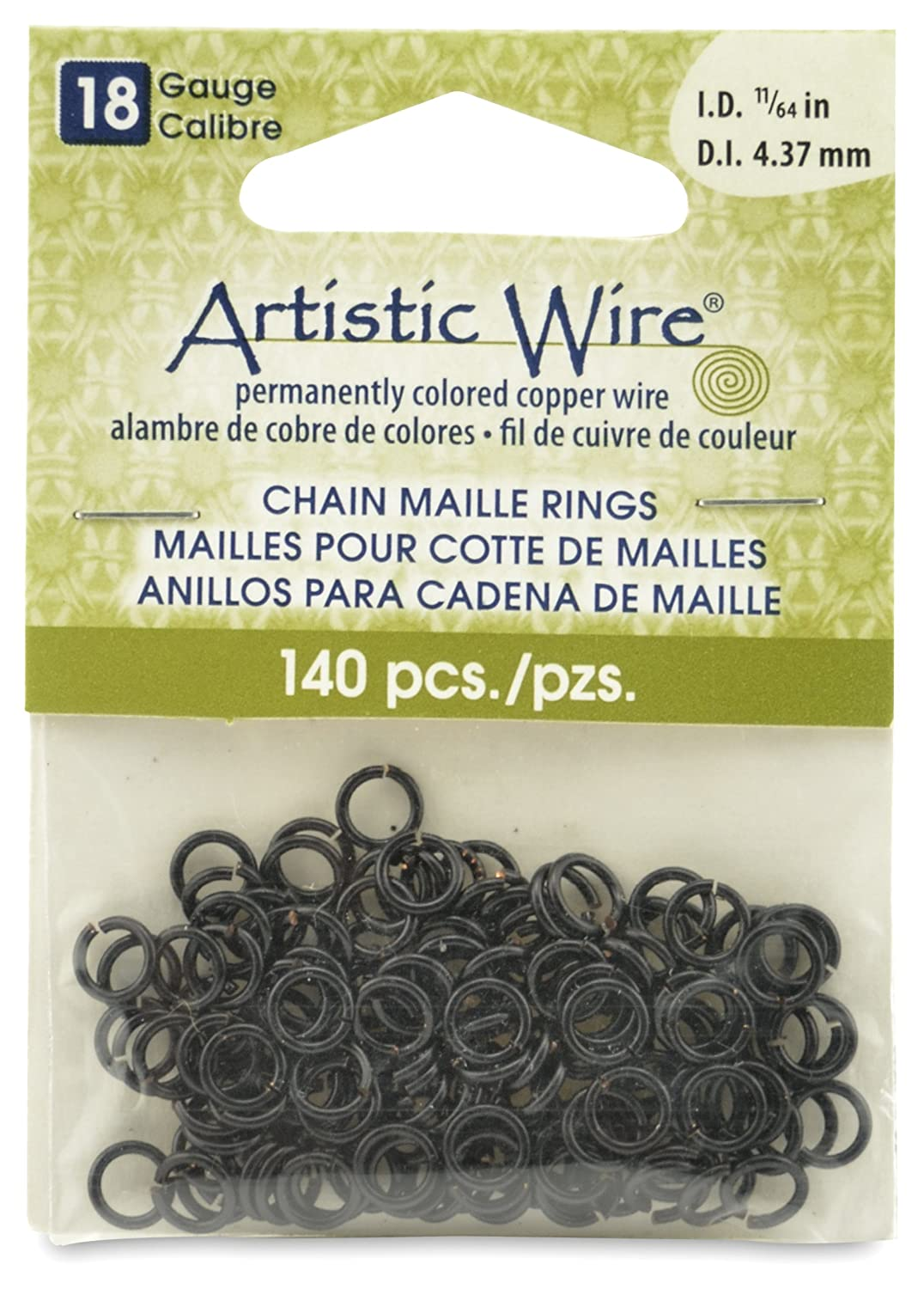 Artistic Wire Beadalon 11/64-inch 140 Piece 18-Gauge Black Chain Maille Rings A314-18-02-07