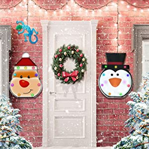 Christmas Wall & Door Decorations Snowman&Santa Indoor Hanging with Neon Lights, Christmas Ornaments Iron Craftmanship, Metal Handicraft Wall Decor Gifts 2 Pack with Gecko