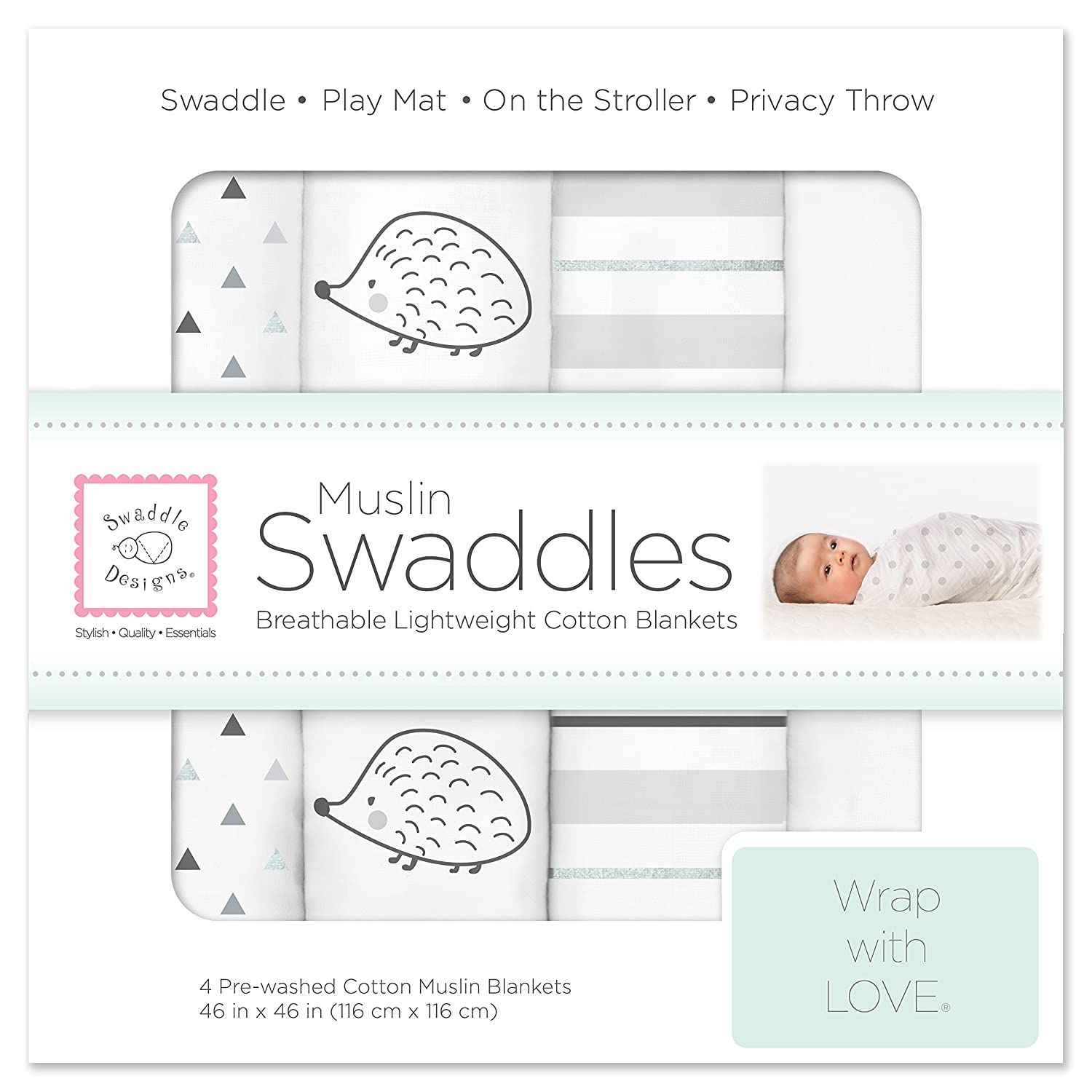 SwaddleDesigns Cotton Muslin Swaddle Blankets, Set of 4, Sterling Goodnight Starshine SDM-103ST
