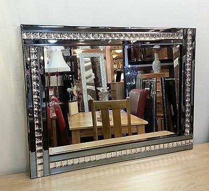 Premierinteriors Espejo Biselado de Cristal acrílico de 120 x 80 cm, diseño Moderno de Art Deco: Amazon.es: Hogar