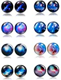Amazon Price History for:Thunaraz 8 Pairs Unisex Stainless Steel Stud Earrings Galaxy Astronomy Earrings for Girls Boys
