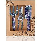 FLORA GUARD Juego de herramientas de aluminio para jardinería de flores, 3 piezas, pala, cultivador, tijera de podar, juego d