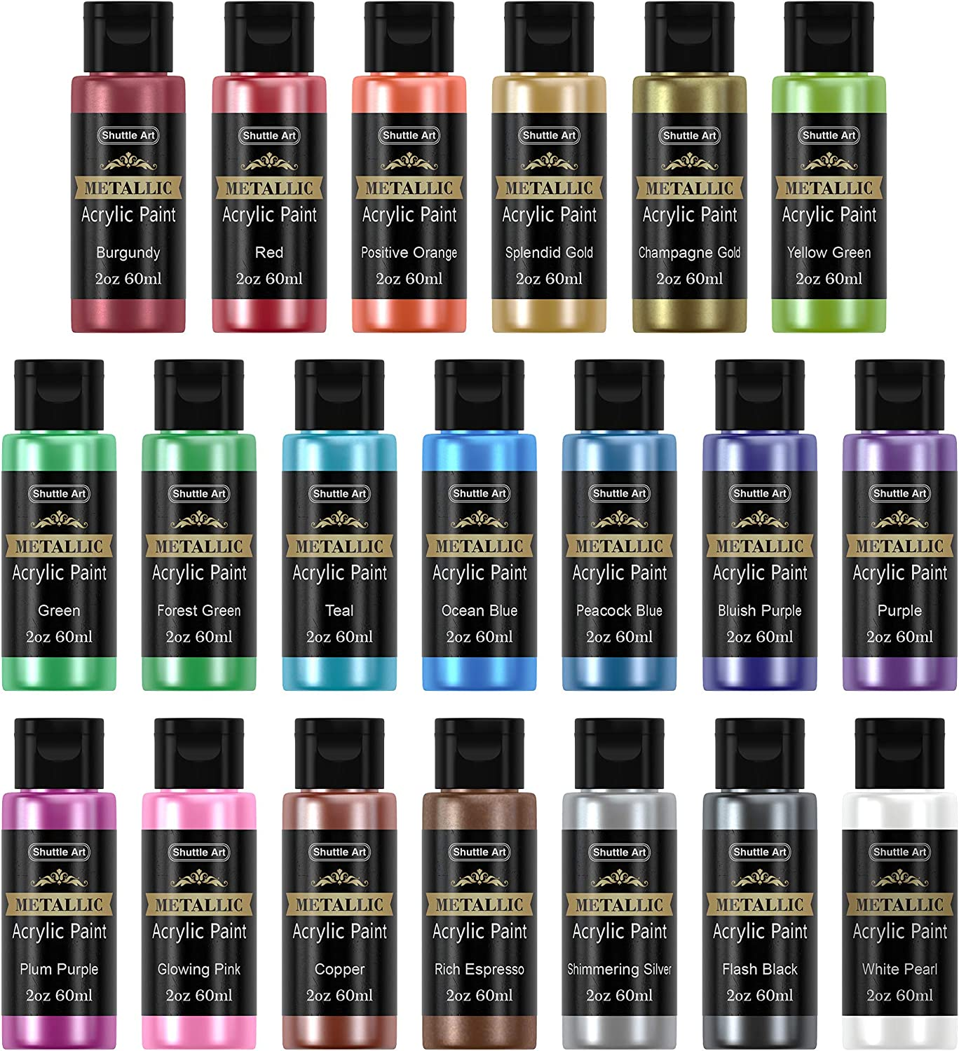 Metallic Acrylic Paint Set, Shuttle Art 20 Colors Metallic Paint in Bottles (60ml, 2oz) with 3 Brushes and 1 Palette, Rich Pigments, Non-Toxic for Artists, Beginners on Rocks Crafts CanvasWood Fabric