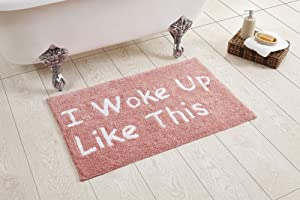 """Better Trends Phrase Collection is Ultra Soft, Plush and Absorbent Tufted Bath Mat Rug 100% Cotton in Vibrant Colors, 21"""" x 34"""" Rectangle, Peach"""