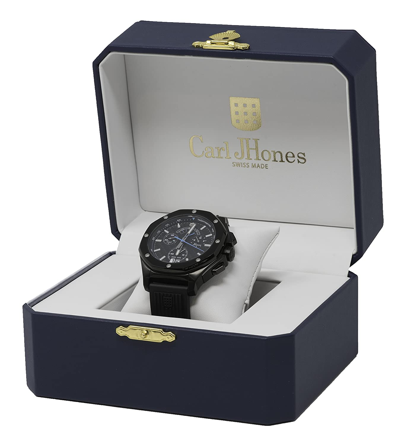 Amazon.com: Carl JHones Mens Respire Blue Carbon Fiber Swiss Quartz Watch 46MM: Watches