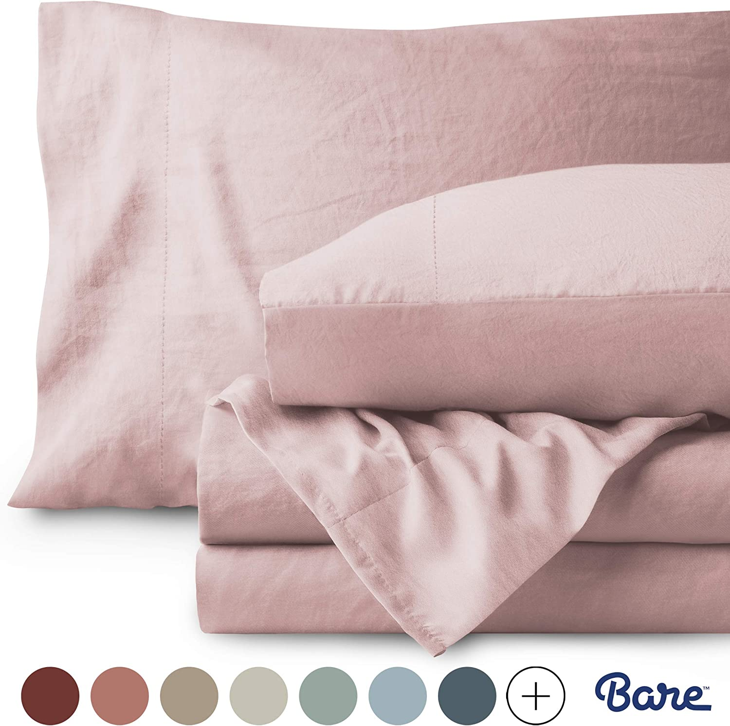 Bare Home Twin XL Sheet Set - College Dorm Size - Premium 1800 Ultra-Soft Microfiber Sheets Twin Extra Long - Double Brushed - Hypoallergenic - Stain Resistant (Twin XL, Sandwashed Dusty Pink)